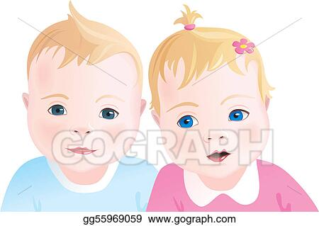 b4a333846718 Stock Illustration - Cute babies - boy and girl. Clipart gg55969059 ...