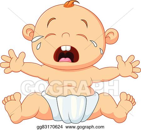 eps vector cute baby crying isolated stock clipart illustration rh gograph com baby boy crying clipart crying baby clipart free