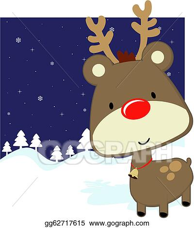 5d4408f25016 Vector Stock - Cute baby deer winter background. Clipart ...