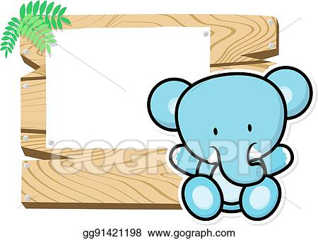 Clip Art Vector - Cute baby elephant frame. Stock EPS gg91421198 ...