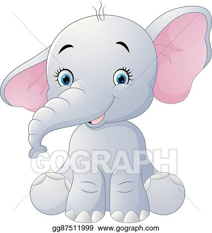 Elephant sitting. Vector illustration cute baby