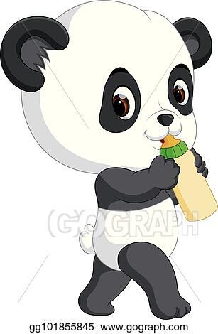 Vector Art Cute Baby Panda Holding Bottle Clipart Drawing