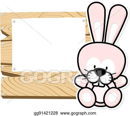 Vector Art - Cute baby rabbit frame. EPS clipart gg91421228 - GoGraph
