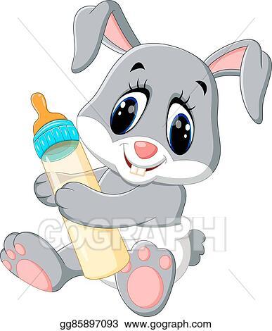 Baby bunny. Vector stock cute rabbit