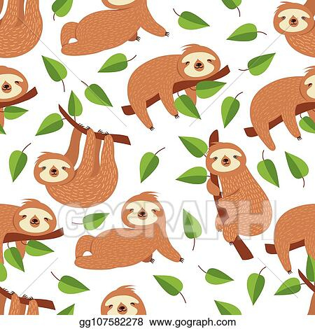 Vector Stock Cute Baby Sloth Bear Tropical Bedroom Vector Seamless Pattern Stock Clip Art Gg107582278 Gograph
