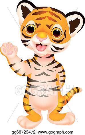 eps illustration cute baby tiger cartoon waving vector clipart rh gograph com baby girl tiger clipart baby tiger clipart black and white