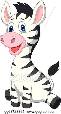 Vector Clipart - Cute baby zebra cartoon. Vector ...