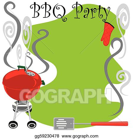 eps illustration cute bbq party invitation vector clipart rh gograph com Man Grilling Steak Clip Art BBQ Border Clip Art