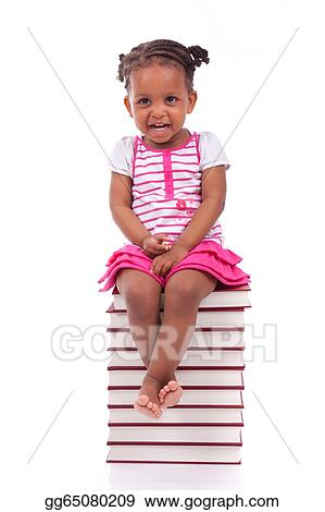 bdb90484 Cute black african american little girl seated in a stack of books,  isolated on white background - African people - Children
