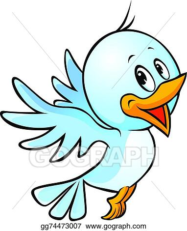 Vector Art Cute Blue Bird Flying Cartoon Clipart Drawing