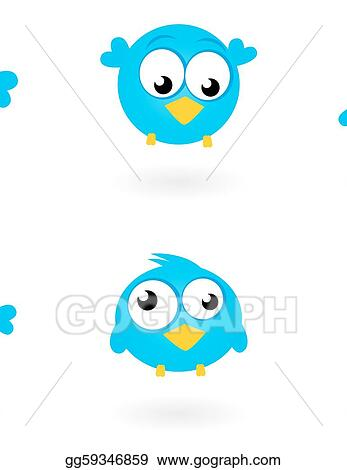 eps illustration cute blue vector twitter birds icons collection