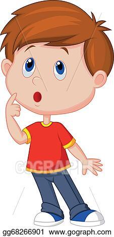 Vector Stock - Vector illustration of cute boy cartoon thinking . Clipart Illustration gg68266901