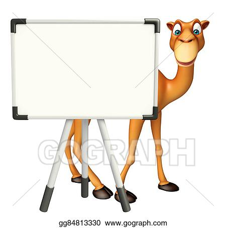 Stock Illustration - Cute camel cartoon character with white
