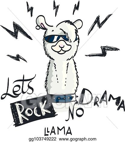 Vector Stock Cute Card With Cartoon Llama Motivational And