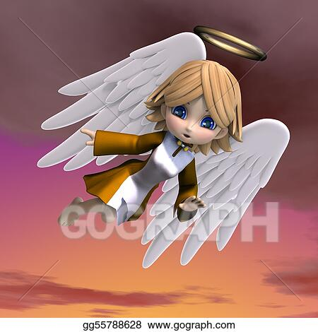Stock Illustration - Cute cartoon angel with wings and halo