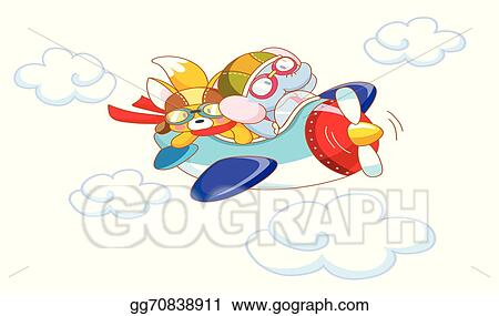 Eps Illustration Cute Cartoon Animals On A Plane Vector Clipart Gg70838911 Gograph