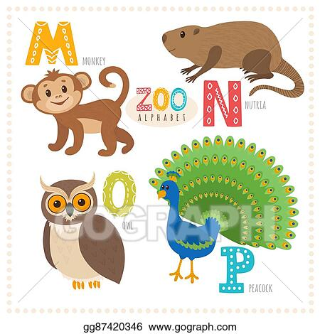 Image of: Zoo Cute Cartoon Animals Zoo Alphabet With Funny Animals M N O Letters Monkey Nutria Owl Peacock Gograph Vector Illustration Cute Cartoon Animals Zoo Alphabet With Funny