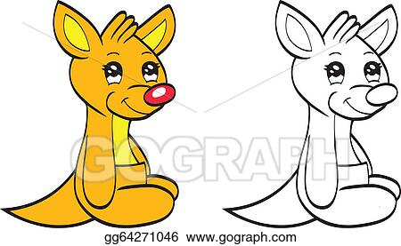 vector stock cute cartoon baby kangaroo clipart illustration