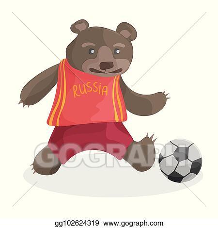 Cute cartoon bear playing football in russia t-shirt - FIFA world cup 2018 0c91911ce