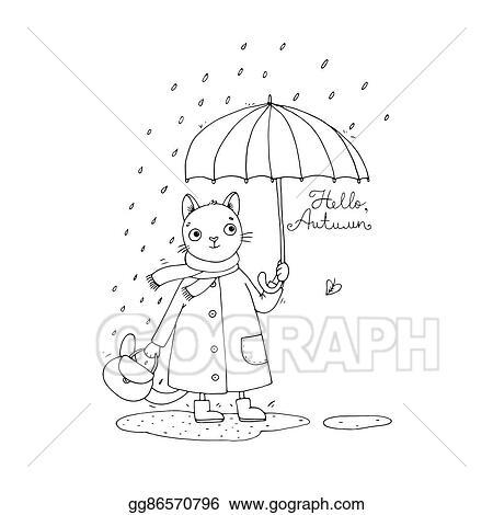 Vector Stock Cute Cartoon Cat Umbrella Rain And Puddles Stock