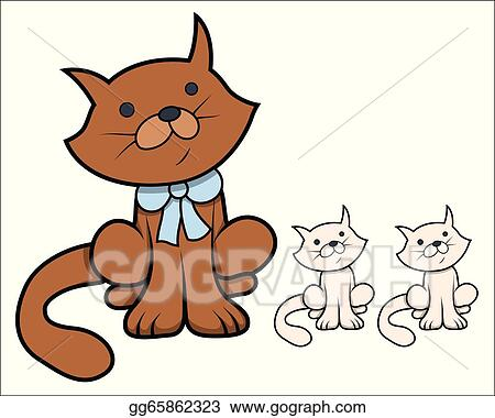 Image of: Cat Cute Cartoon Cat With Kittens Gograph Vector Stock Cute Cartoon Cat With Kittens Clipart Illustration