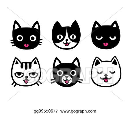 Vector Clipart Cute Cartoon Cats Sticking Out Tongue Vector Illustration Gg99550677 Gograph