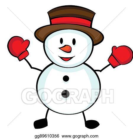Cute Christmas Drawings.Drawings Cute Cartoon Character Christmas Snowman Stock