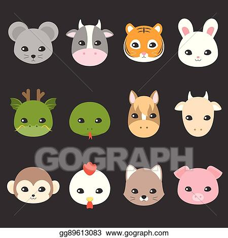Vector Art Cute Cartoon Chinese Zodiac Icon Face Of Rat