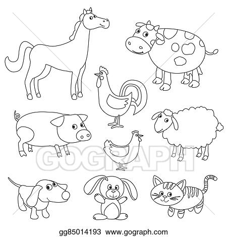 Image of: Easy Cute Cartoon Farm Animals And Birds For Coloring Book Outline Vector With Adjustable Stroke Black And White Version Gograph Eps Vector Cute Cartoon Farm Animals And Birds For Coloring Book