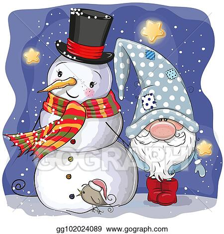 572aa944f35e9 Vector Art - Cute cartoon gnome and snowman. Clipart Drawing ...
