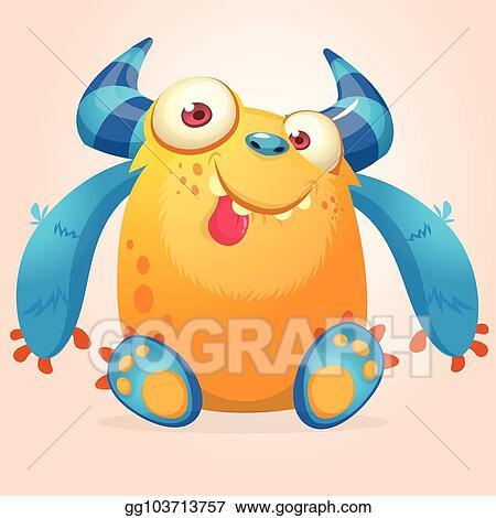 eps vector cute cartoon monster vector troll or gremlin character
