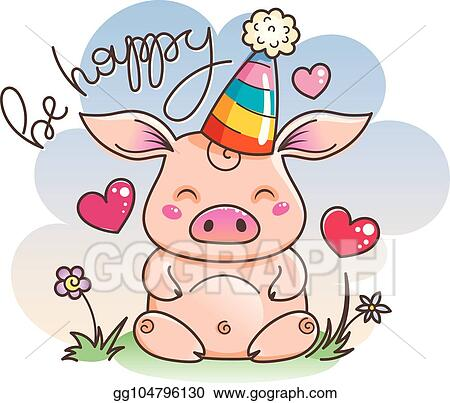 Clip Art Vector Cute Cartoon Pig In Love Symbol Of New 2019 Year