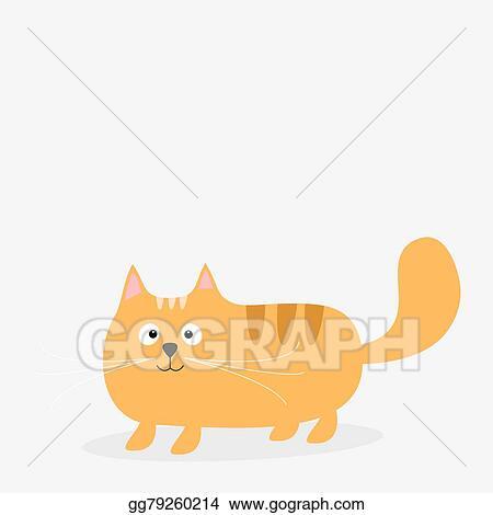 Eps Illustration Cute Cartoon Red Fat Cat Card Kids Background Flat Design Vector Clipart Gg79260214 Gograph