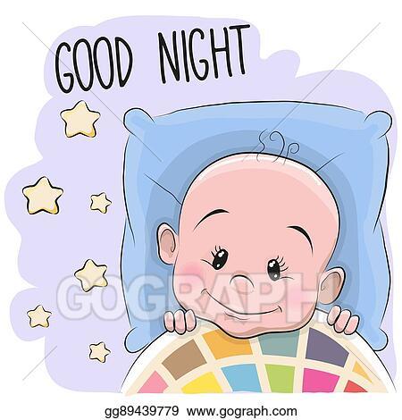 Clip Art Vector Cute Cartoon Sleeping Baby Boy Stock Eps Gg89439779 Gograph