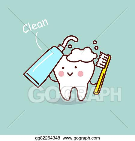 Vector Illustration Cute Cartoon Tooth Brush Concept Eps Clipart Gg82264348 Gograph