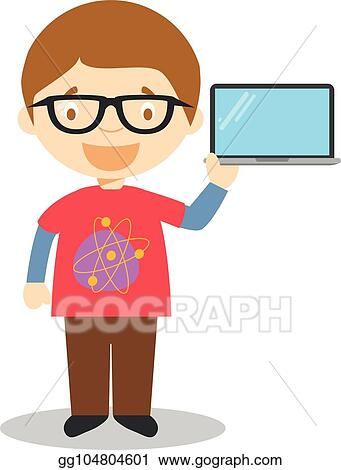 Eps Vector Cute Cartoon Vector Illustration Of A Programmer Or A
