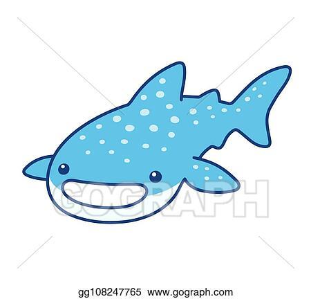 Eps Vector Cute Cartoon Whale Shark Stock Clipart Illustration Gg108247765 Gograph