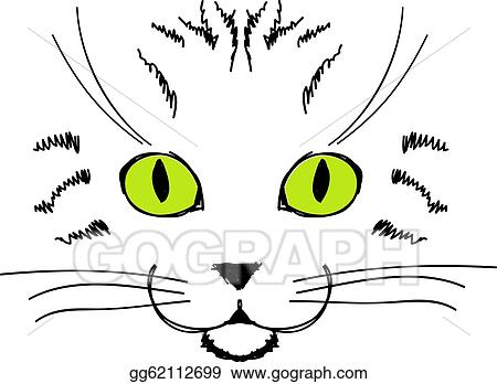 vector illustration cute cat face hand drawing for your design