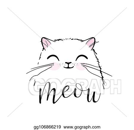 Vector Art Cute Cat Vector Print Design Meow Lettering Text
