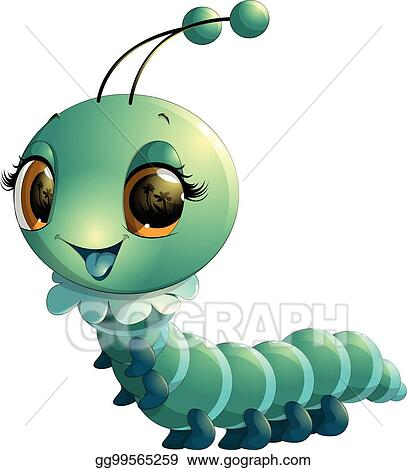 Eps Illustration Cute Caterpillar Cartoon Vector Clipart