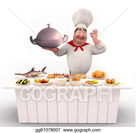 Clipart Cute Chef Walking With Non Veg Dish Stock Illustration Gg61078007 Gograph