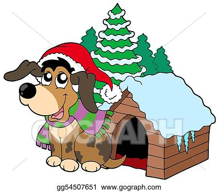 Stock Illustration Cute Christmas Dog Clipart Drawing Gg54507651