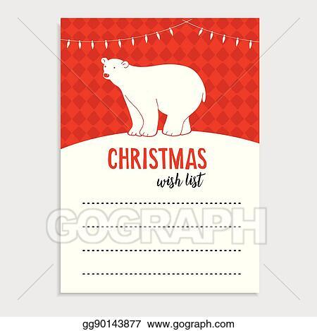 Vector Illustration Cute Christmas Greeting Card Wish