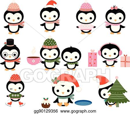 b3f17c97cbcd7c EPS Vector - Cute christmas penguin characters with winter hats ...