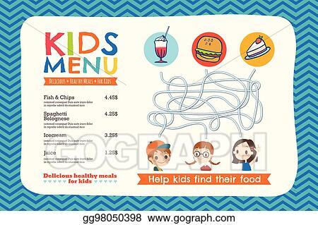 Vector illustration cute colorful kids meal menu template eps cute colorful kids meal menu template maxwellsz