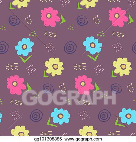 Vector Stock Cute Contrast Dark Doodle Floral Pattern