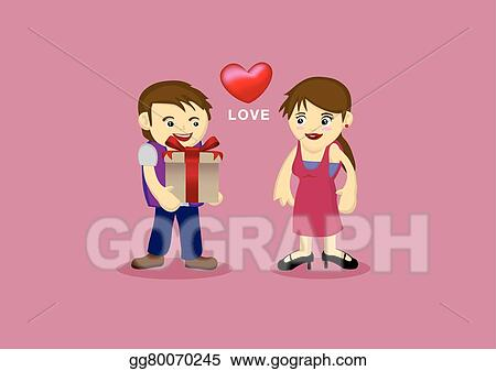 Clip Art Vector Cute Couple In Romantic Love Relationship Cartoon Illustration Stock Eps Gg80070245 Gograph