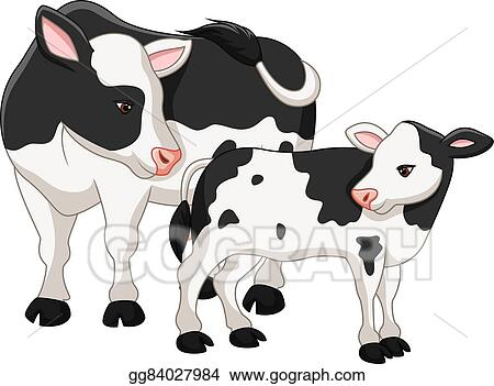 clip art vector cute cow mother with baby calf stock eps rh gograph com Cute Baby Cow Clip Art Baby Cow Clip Art Black and White