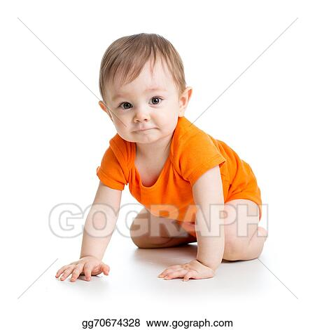 f0b8bedaa915 Stock Photograph - Cute crawling baby boy isolated on white ...