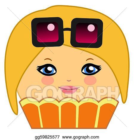 stock illustration cute cupcake cartoon couture blonde clipart